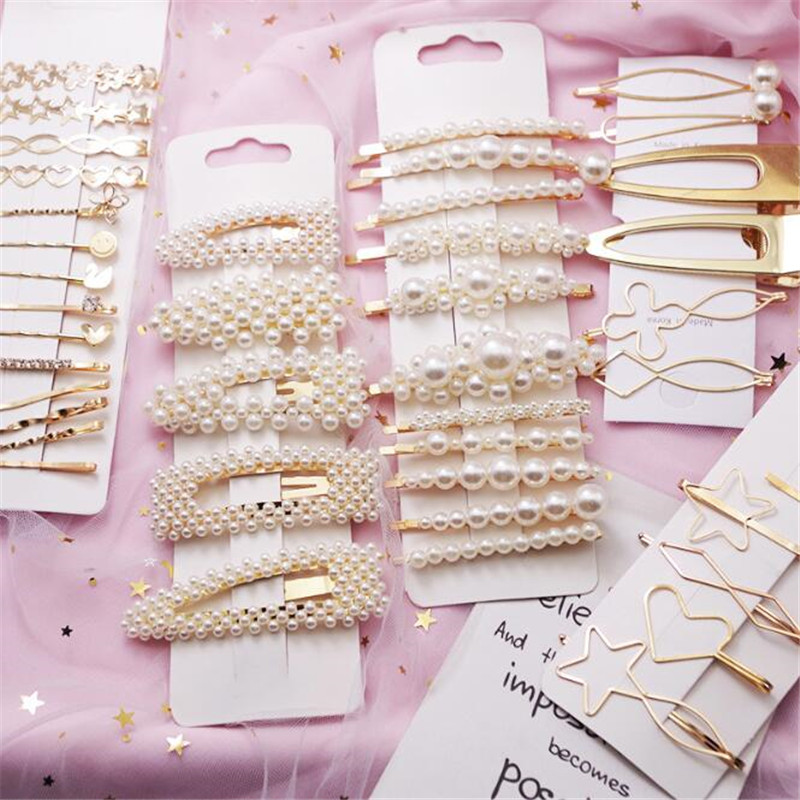 Full Pearls Hair Clips For Women Fashion Sweet Imitation Korean Style Hairpins Alloy BB Hairgrip Girls Hair Accessories