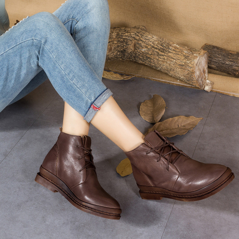 Original retro art leather women s boots autumn and winter new handmade leather boots low with