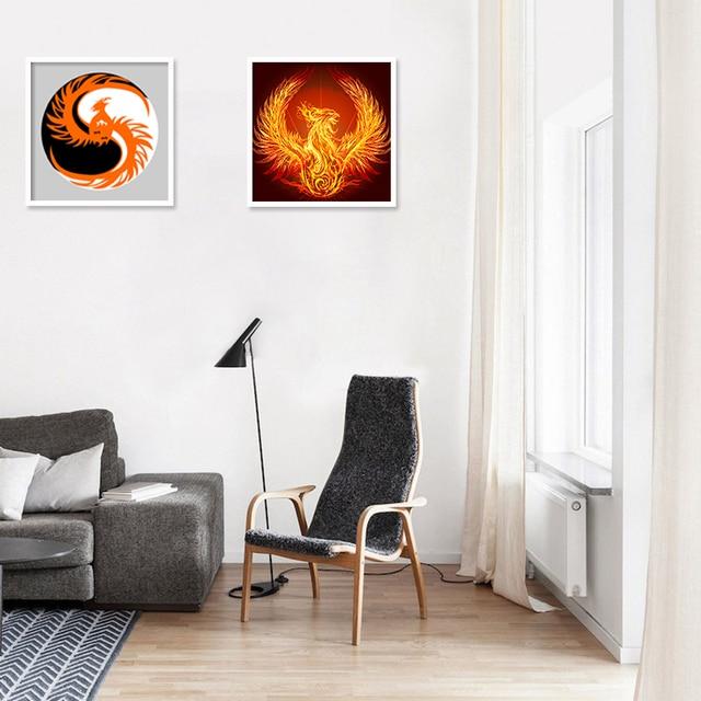 abstrakte vogel feuer phoenix leinwand kunstdruck malerei poster wand bild fr hauptdekoration wohnzimmer studie wand - Wohnzimmer Feuer