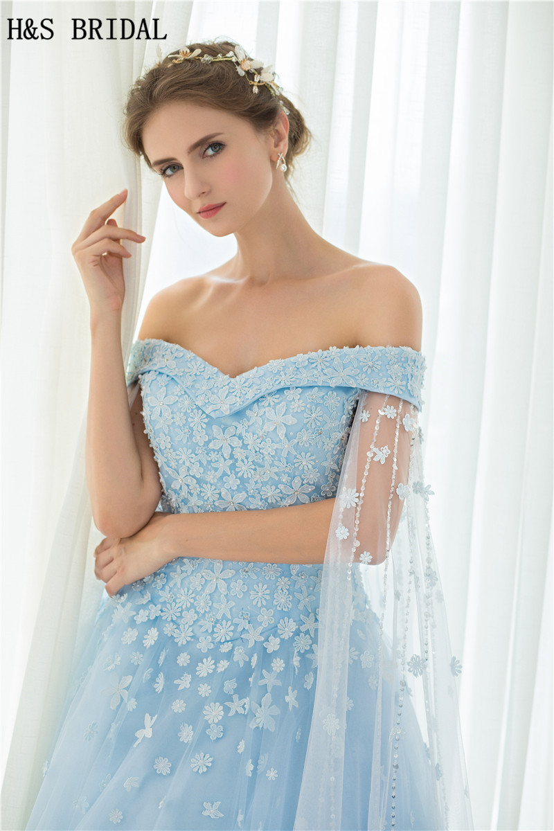 H&S Off Shoulder Blue long prom dresses With Shawl Lace Up Evening ...