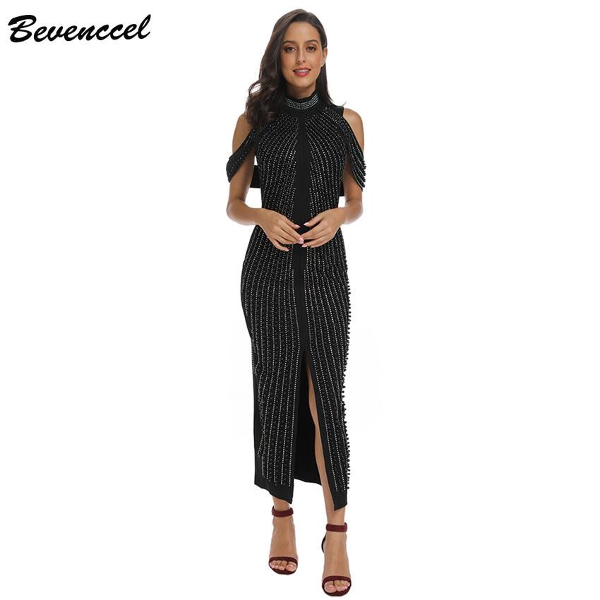 2019 Chic Black White Sleeveless Beaded Sequins Dress Women Evening Party dress Turtleneck Sexy Back Split Long Dress Vestidos