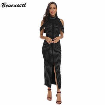 2019 Chic Black White Sleeveless Beaded Sequins Dress Women Evening Party dress Turtleneck Sexy Back Split Long Dress Vestidos - DISCOUNT ITEM  41% OFF All Category