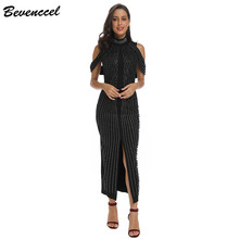 2020 Chic Black White Sleeveless Beaded Sequins Dress Women Evening Party dress Turtleneck Sexy Back Split Long Dress Vestidos