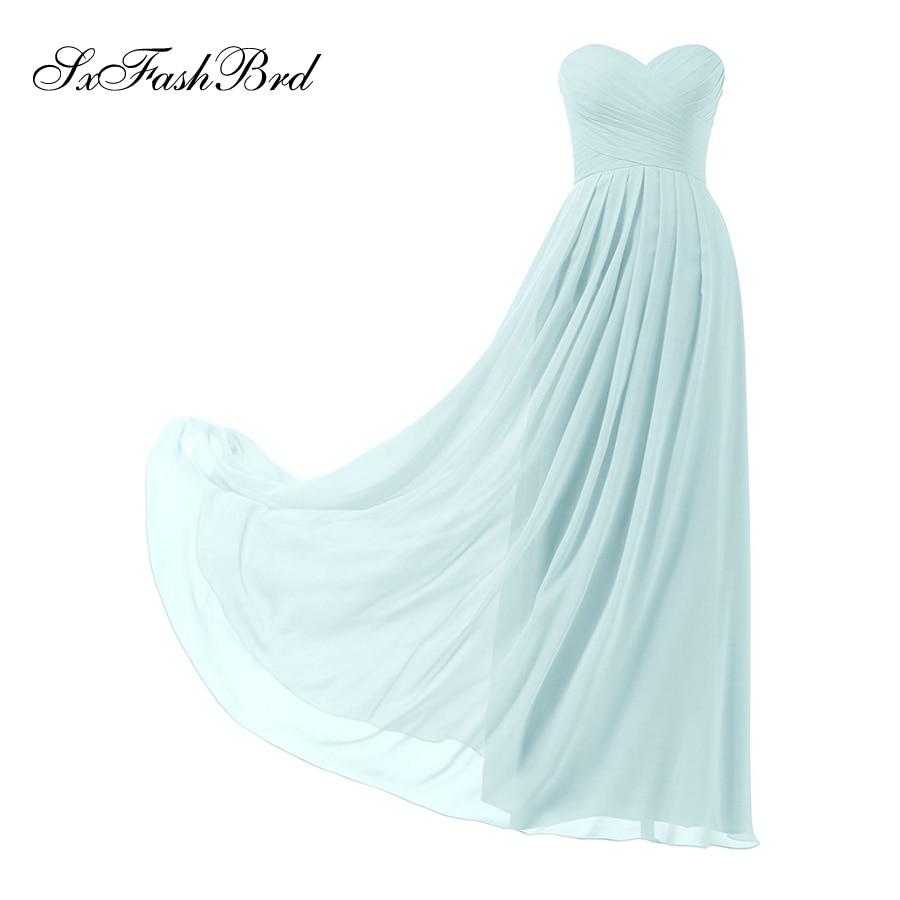 Vestido De Festa Ruche Sweetheart A Line Lange Bruidsmeisjes Jurken - Bruiloft feestjurken