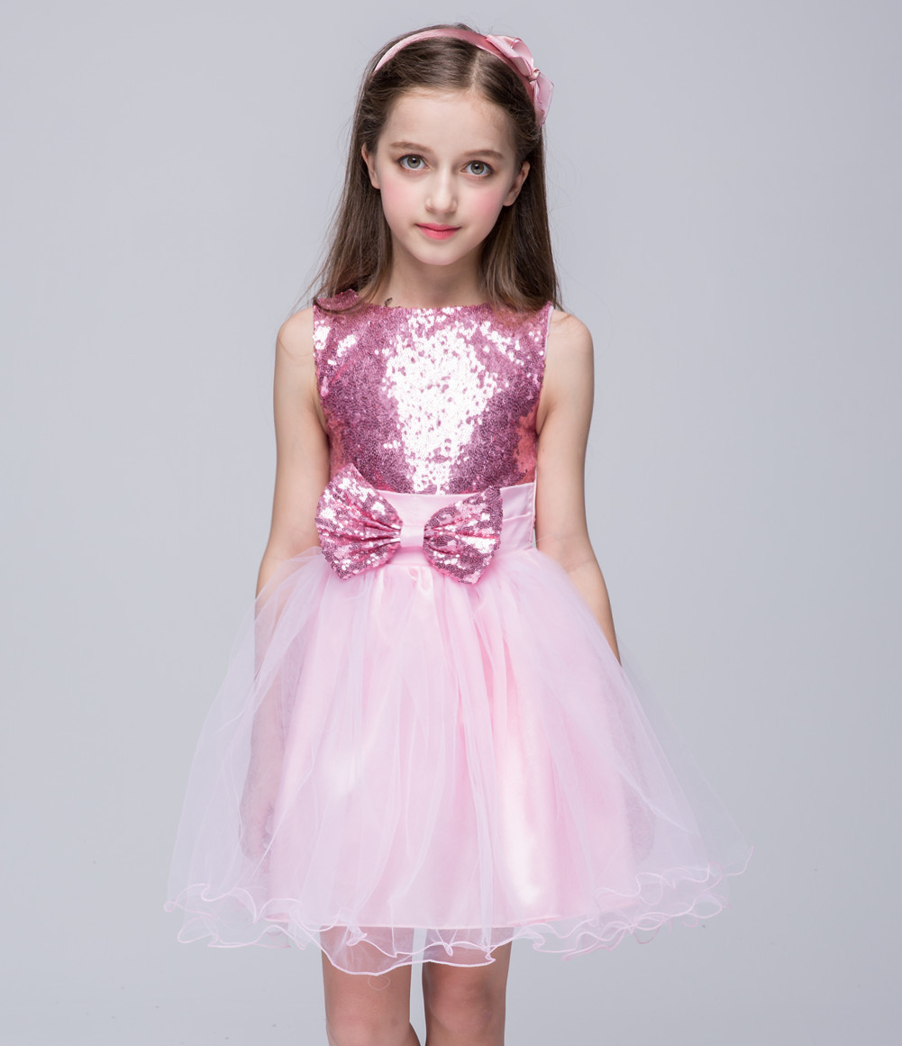 Summer Short Girls Wedding Party Dress Little Princess Toddler Children Clothes Red Blue Pink Kids Dresses Sequined Outfit spring summer 2018 children girl clothes sequined top red sky blue purple princess formal girls hot pink dresses tulle bow