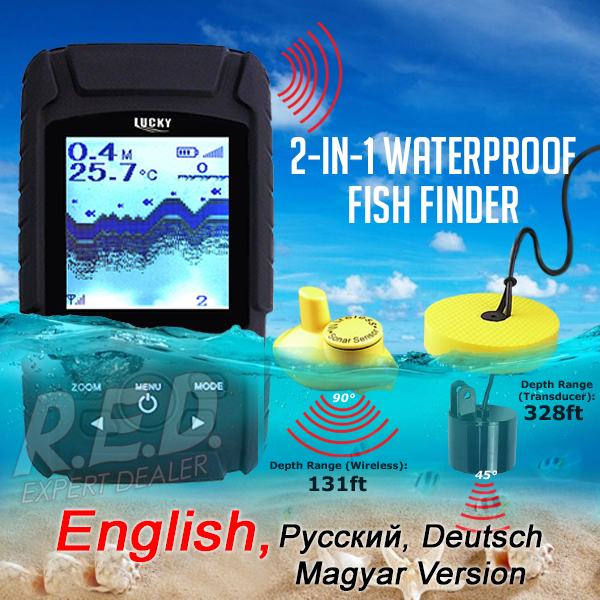 FF-718Li LUCKY 2-in-1 Fish Finder Waterproof Wireless Sonar Sensor / Wired Transducer Rechargeable Fishfinder Monitor lucky chance in may men shandbags 8