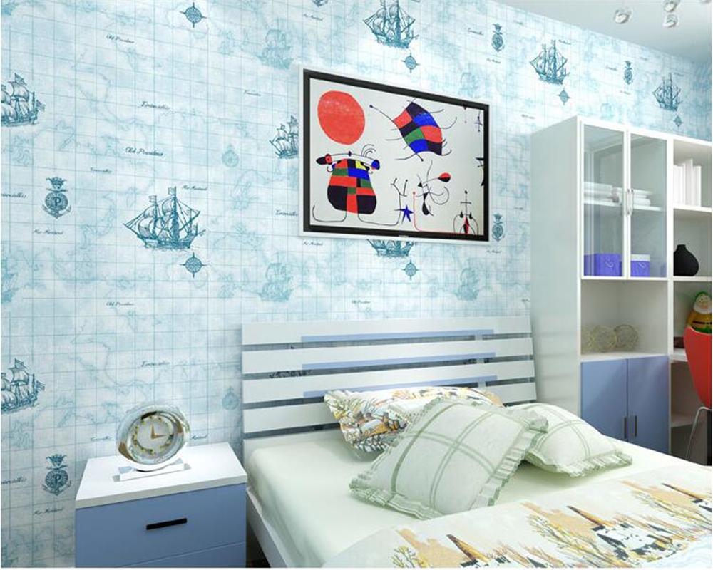 beibehang Mediterranean Sailing Boys Room Bedroom World Map Sailing Office Restaurant Nonwoven papel de parede 3d Wallpaper 1pc 32cm world globe map ornaments with swivel stand home office office shop desk decor world map geography educational tool