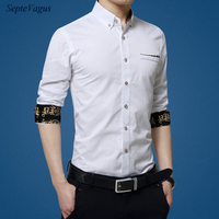 Fashion Brand Men Contrast Color Collar Men Shirt Long Sleeve Slim Fit Shirt Mens Dress Long