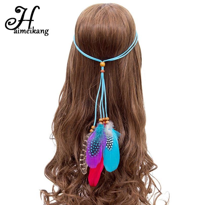 Haimeikang Indian Feather Headband Gum Girls Hair Band Hair Rope Hair Accessories for Women Hairbands Halloween Headwear gorgeous faux feather elastic hair band for women