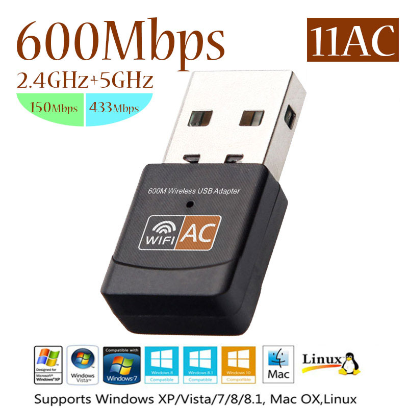600Mbps Wireless USB WiFi Adapter <font><b>RT8812AU</b></font> Mini wi-fi Dongle PC Network Card 2.4&5Ghz Adapter LAN USB Ethernet Receiver AC Wifi image