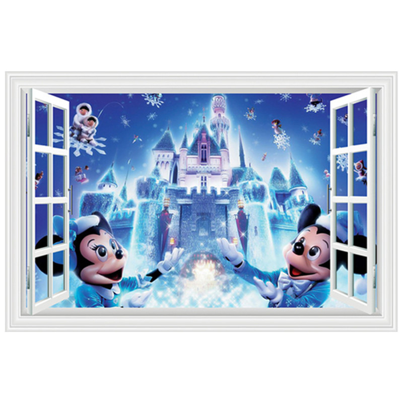Christmas dream castle 3d mural mickey minnie mouse false for Castle mural kids room