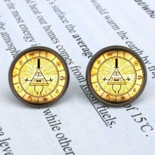 Anime Gravity Falls Mysteries BILL CIPHER WHEEL Earrings Women 12mm/0.47inch mens 1pair/lot New Cartoon drop Dr Who Jewelry 2016