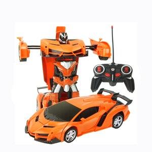 Image 2 - 2In1 RC Voiture De Sport De Voiture Transformation Robots Modèles Télécommande Déformation De Voiture RC combats jouet Cadeau Danniversaire de KidsChildren