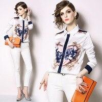2019 New Women Shirts Slim Girl White Shirts Flower Printing Summer and Autumn Fashion Shirt Long Sleeve Shirt Size S XXL
