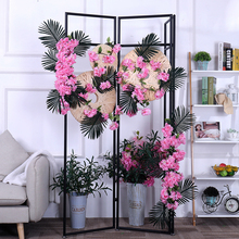 silk cherry blossom Sakura flower wall Wedding flowers decoration Vine Artificial Home decor Hanging Garland Wreath