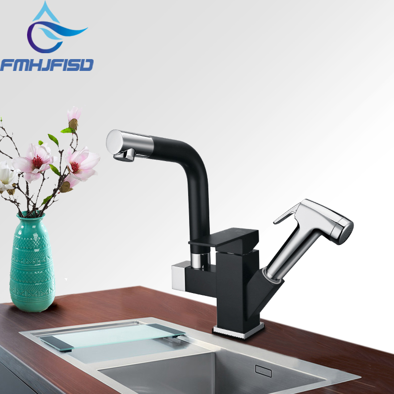 Blackened Deck Mounted Kitchen Sink Faucet Brass Vessel Sink Mixer Water Tap Dual Swivel Spout Pull Out Sprayer Faucet стоимость