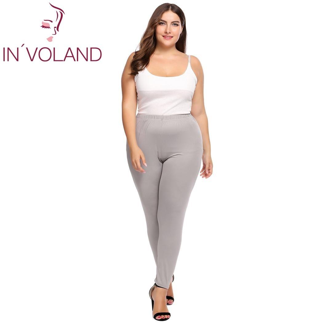 9cbbb2ee8b8b1b IN'VOLAND Frauen Leggings Plus Größe XL-4XL Hohe Taille Dehnbar Leichte  Atmungsaktive Feste