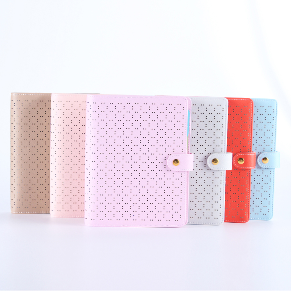 New creative hollow leather spiral notebooks,cute office agenda planner organizer/person diary binder planner Gift Wrapped A5A6