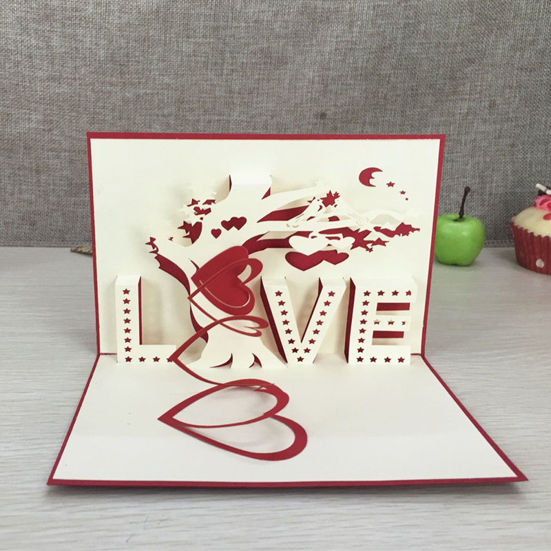 "1pcs Heart & Tree Laser Cut Origami Paper 3D Pop UP kort med ""LOVE"" Greeting Cards Vesker Bryllup Valentinsdag gaver"
