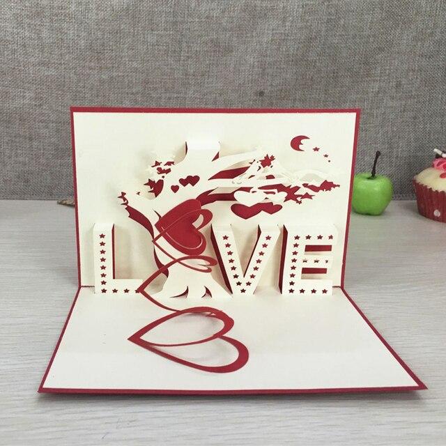1pcs heart tree laser cut origami paper 3d pop up cards with love 1pcs heart tree laser cut origami paper 3d pop up cards with love m4hsunfo