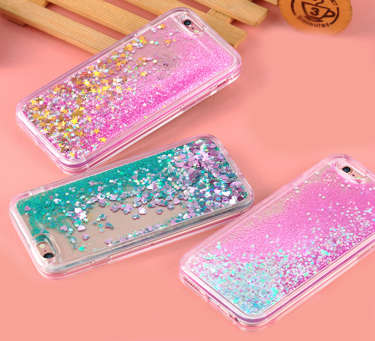 custodia iphone 6 acqua e glitter