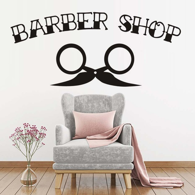 Man barber shop sticker quotes bearded decal hairdressing posters vinyl wall art decals windows decoration mural