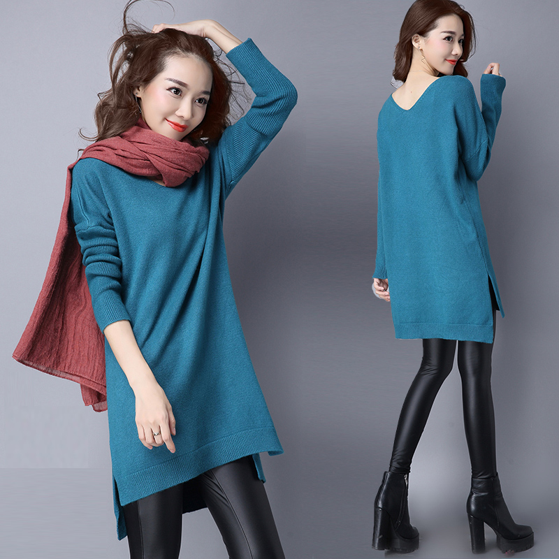 2018 New Winter Women Knitted Cashmere Sweater Dress Sexy V-neck Plus Size Loose Long Pullovers and Sweaters Wool Knitwear Tops