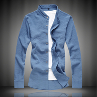 New Cotton and Linen Men Shirt Long Sleeve Comfortable and Breathable Male Casual Shirts Size 7XL Stand Collar Blue Shirt Man