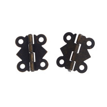 12pcs Mini Butterfly Style Hinges For Dolls Houses Jewelry Box - Bronze W/srew 20x17mm(China)