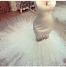 Nuovo Arrivo 2020 Sweetheart Senza Spalline Vestido da Sposa Abiti da Sposa Custom Made in Rilievo di Cristallo su Ordine Della Sirena Abiti da Sposa