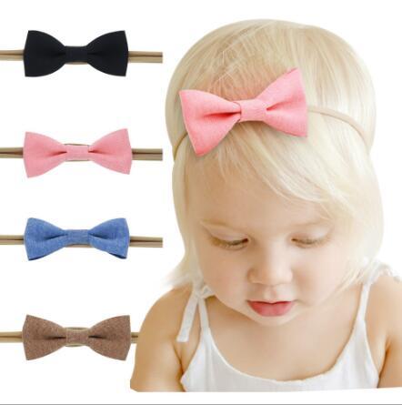 on sale 4pcs baby girl boy spandex nylon headband children skinny stretchy Non-Marking cotton Bowknot elastic hair Band bebe