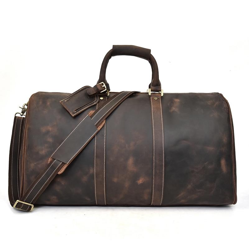 Grand sac de voyage en cuir véritable crazy horse pour hommes grande capacité en cuir véritable sac à bandoulière week-end sac à main pour homme