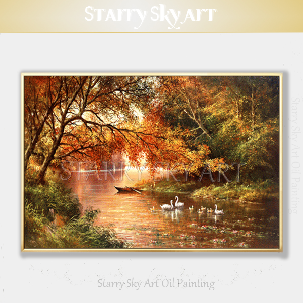 Professional Artist Hand painted High Quality Lake Landscape Oil Painting Beautiful Swan in Lake Oil Painting for Wall Art Decor