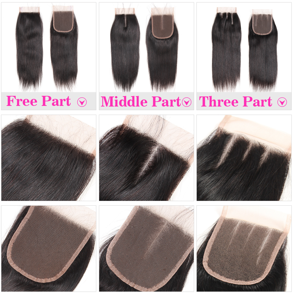 Peruvian Straight Lace Closure Human Hair Closure With Baby Hair 4x4 Free Middle Three Part Natural Color Non Remy Hair