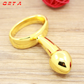 Hand-held anal plug gold color plated metal dildo stimulating wand male G-spot sex toy adult product Butt Plug Prostate massage