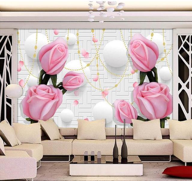 Custom 3d mural 3D Stereo TV wall wallpaper rose large mural wall ...