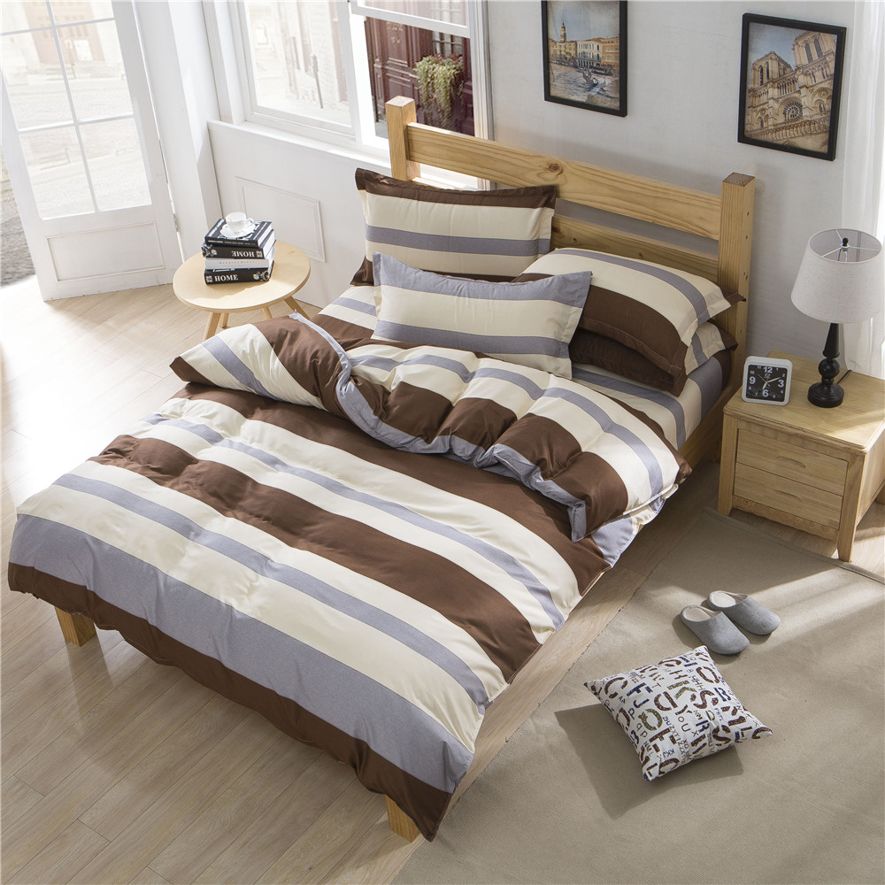 Brown bedding sets queen - Brief Hotel Bedding Bed Sets Queen King Twin Kids 4 5 Pcs Brown Grey Stripes