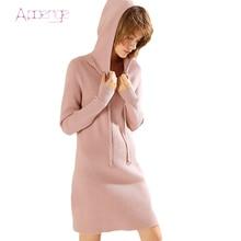 APOENGE 2017 Women Winter Dresses Long Sleeve Knitted Sweater Dress Hoodies Slim Sweater Bodycon Dress  Female Vestidoes LZ576