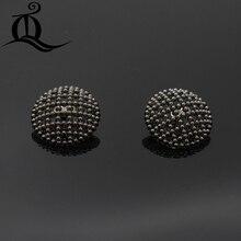 10 шт 25 мм черные полые металлические пуговицы, брендовые пуговицы аксессуары для одежды DIY материал, рубашка, пальто