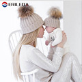 2017 Baby Hat 15cm Raccoon Fur Ball Hat For Baby And Mother Autunmn Winter Children's Hats