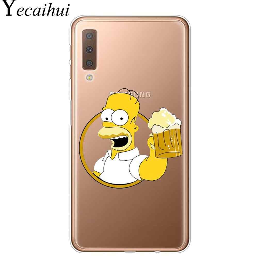 Homer J Simpson śmieszne Bart Simpson Coque Cartoon etui na telefony dla Samsung A7 A9 A6 A8 Plus 2018 S8 S9 S10 Plus TPU pokrywa silikonowa