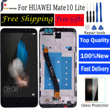 For HUAWEI Mate 10 Lite Lcd Display Screen For Mate 10 Lite Digiziter Assembly 2560*1440 5.9 Inch AAA Quality LCD With Frame white black gold for huawei ascend mate s lcd display screen touch digiziter assembly with frame free shipping