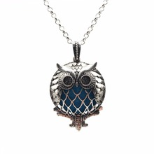 Owl Bird Vintage Silver Aromatherapy Necklace Magnetic Closure Locket Essential Oil Diffuser Pendant Necklace Jewelry Women Gift