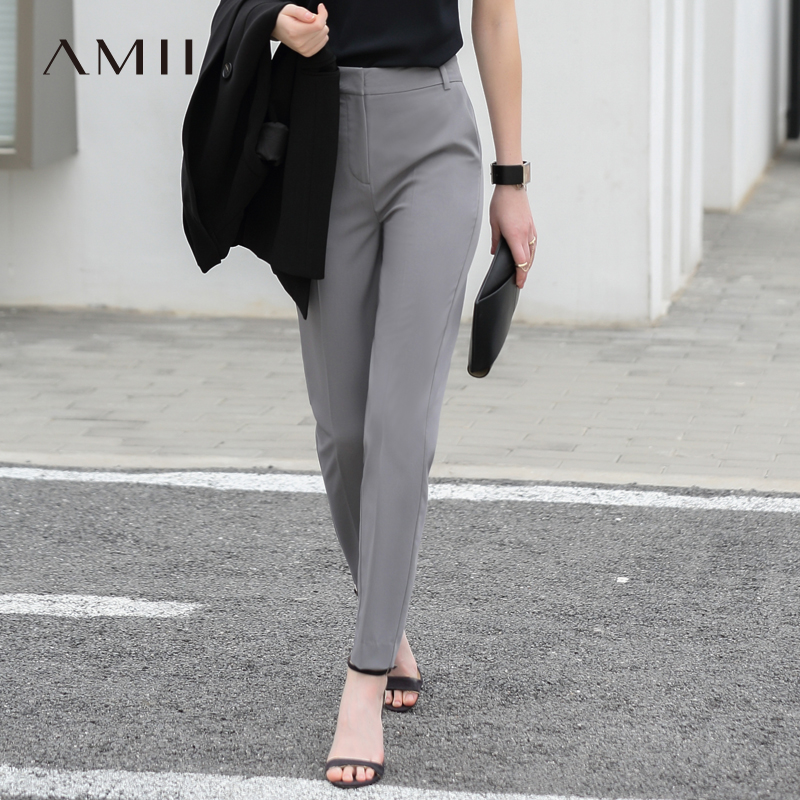 Amii Women Minimalist Pants 2018 Solid Straight Office Lady Female Trousers