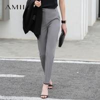Amii Women Minimalist Pants 2019 Solid Straight Office Lady Female Trousers