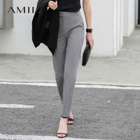 Amii Women Minimalist Pants 2018 Solid Straight Office Lady Female Trousers