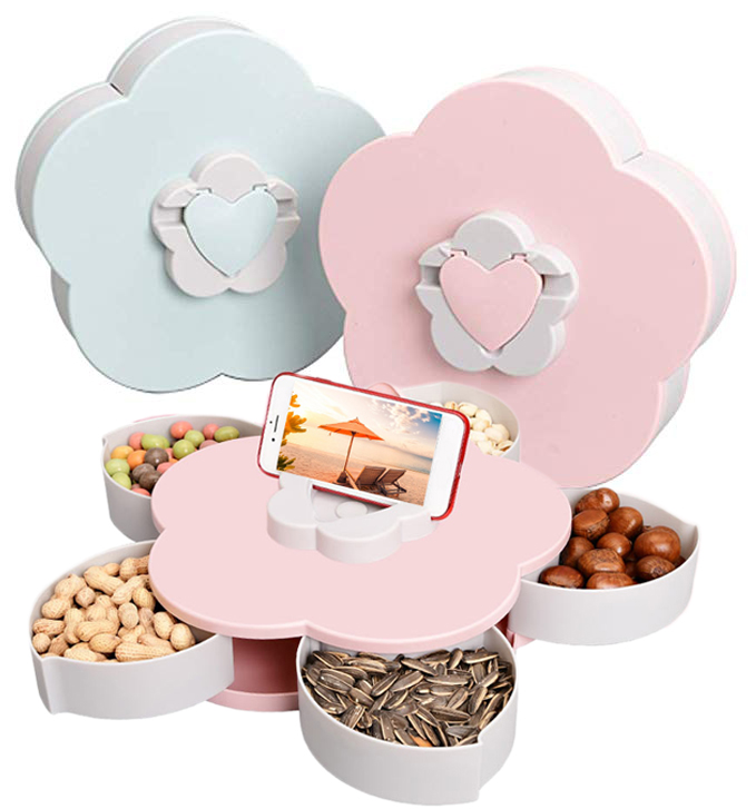 Slingifts Snack Tray Mobile Phone Bracket Rotating Candy Box Five Compartments Dried Fruit Plate Serving Tray For Appetizer Nuts