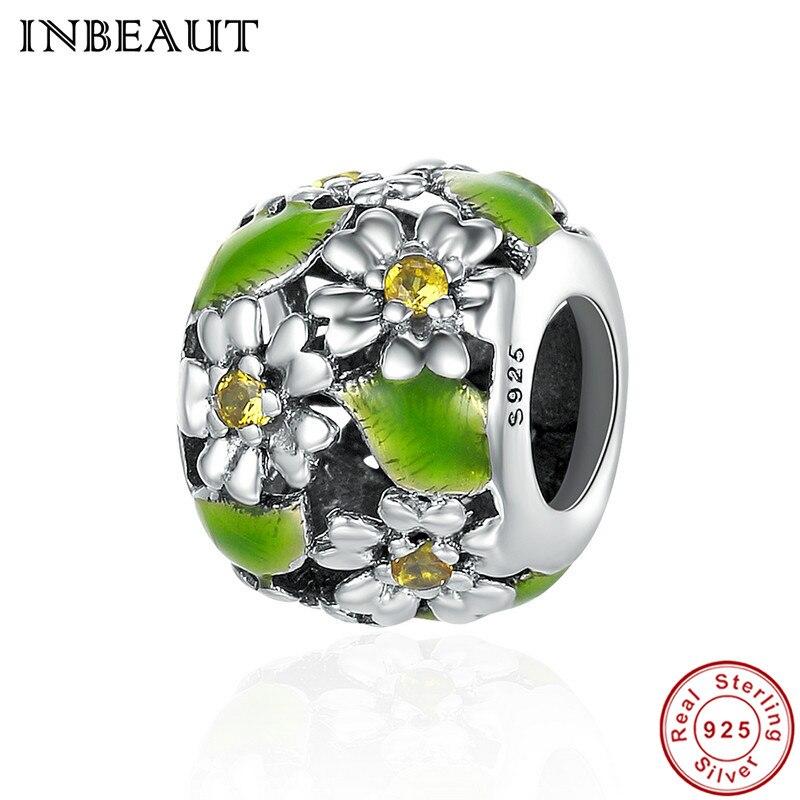 INBEAUT Women New Trendy DIY Charm 925 Sterling Silver Green Leaf Carved Cute Flower Beads fit Pandora Bracelet Fine Jewelry