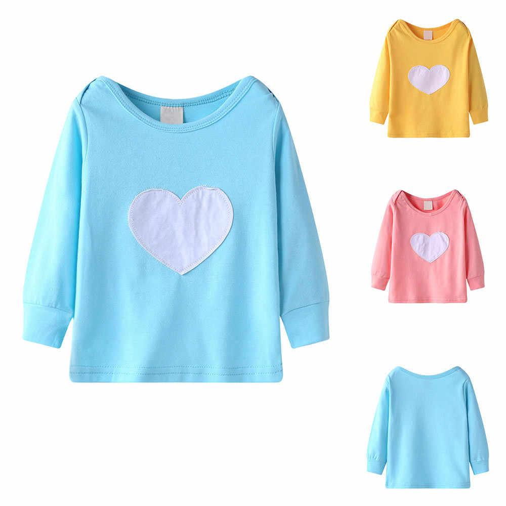 8cde76dbd0454 ... Cute Baby Girls T-shirt Long Sleeve Heart Print Tops T Shirt Clothes  Outfits Kids ...