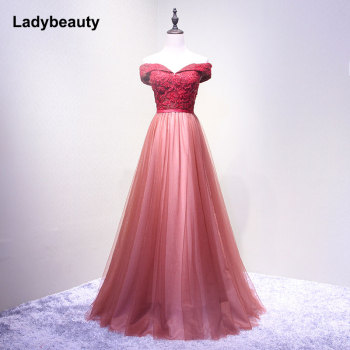 Ladybeauty 2018 New Wine Red Lace Evening Dress Bride Banquet Sweetheart Boat Neck Floor-length Lace Party Formal Dress